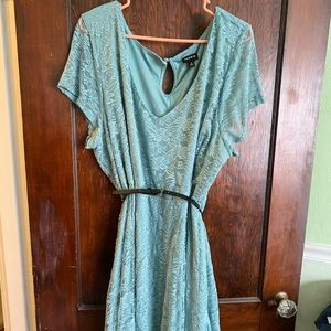 Pale blue lace dress with belt